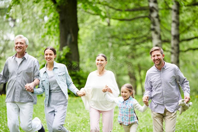 Family in the forest royalty free stock photography