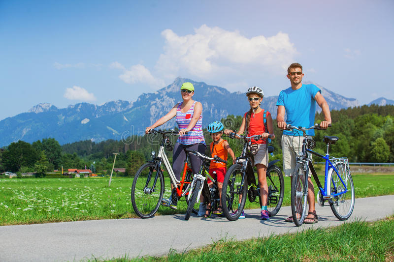 Family Of Four Cycling royalty free stock image