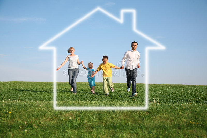 Download Family Of Four In Dream House Stock Image - Image: 3704713
