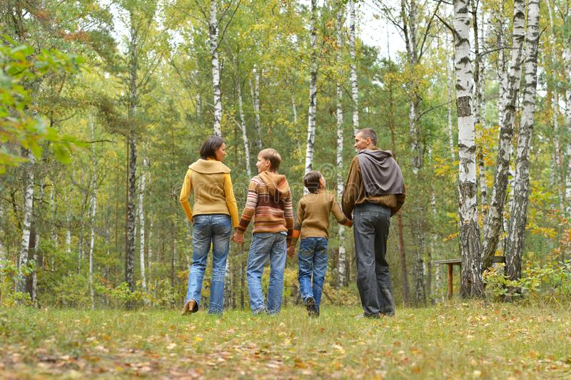 Portrait of family of four in park stock image