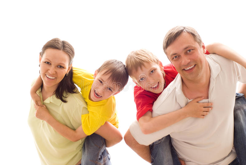 Family four on a light royalty free stock image