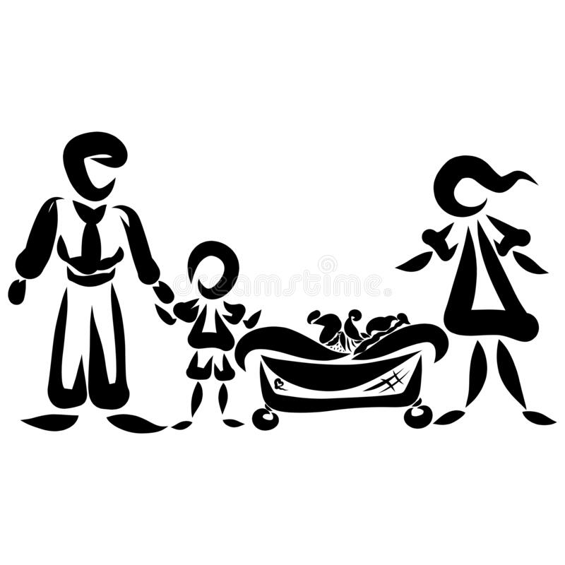 Family Of Four Mom With Dad Boy And Baby Stock Illustration Illustration Of Stroller Protect 175503862