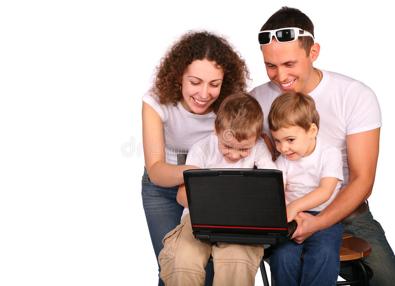Download Family Of Four With Notebook Stock Photo - Image of family, married: 4675512
