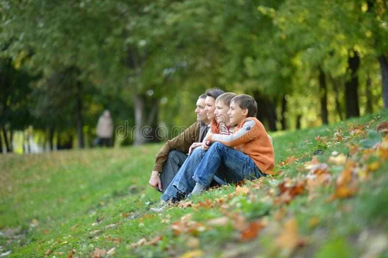 Family of four posing sitting on grass stock image