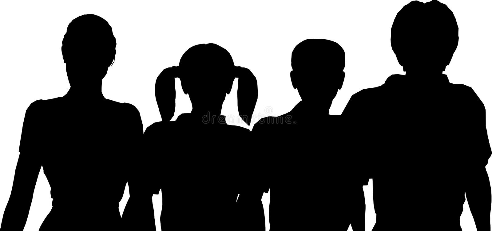 Family of four silhouette. Vector