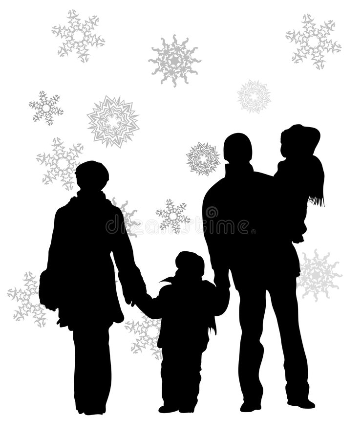 Family of four in winter. Vector family of four in winter silhouette vector illustration