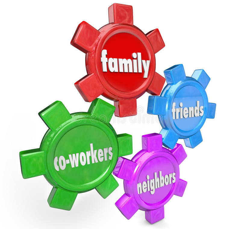Family Friends Neighbors Co-Workers Support System Gears. The words Family, Friends, Neighbors and Co-Workers on gears to illustrate a support system of people royalty free illustration