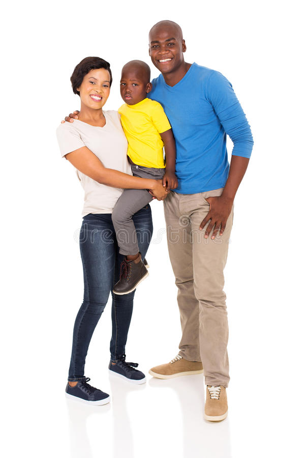 Family full length. Full length portrait of happy young african family isolated on white royalty free stock photography