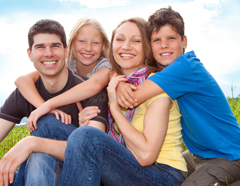 Family-fun 1. Cute family having fun in the nature royalty free stock image