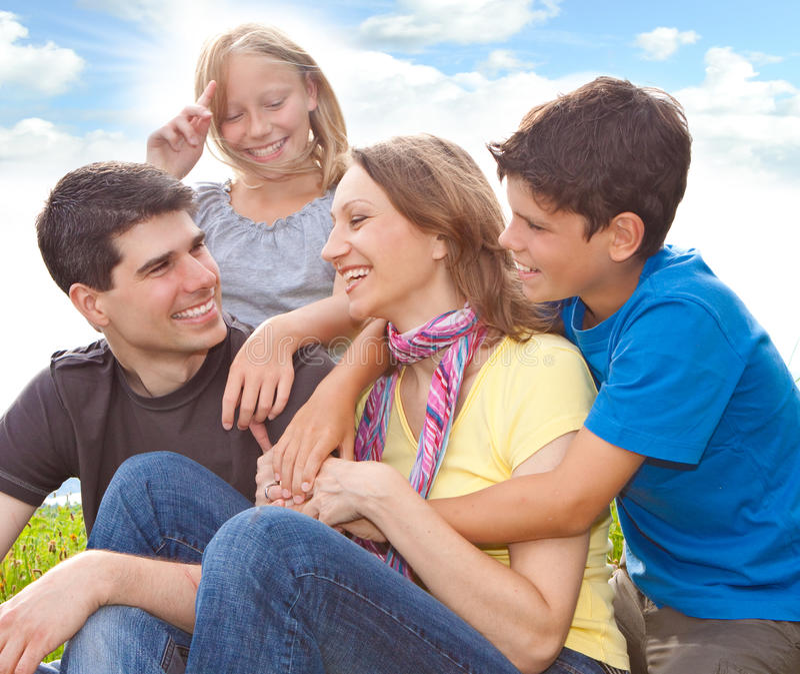 Family-fun 4. Cute family having fun in the nature stock image