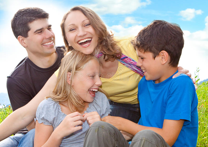Family-fun 5. Cute family having fun in the nature royalty free stock photography