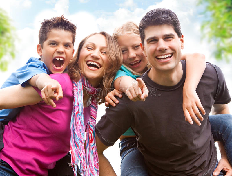 Family-fun 8. Cute family having fun in the nature stock photography