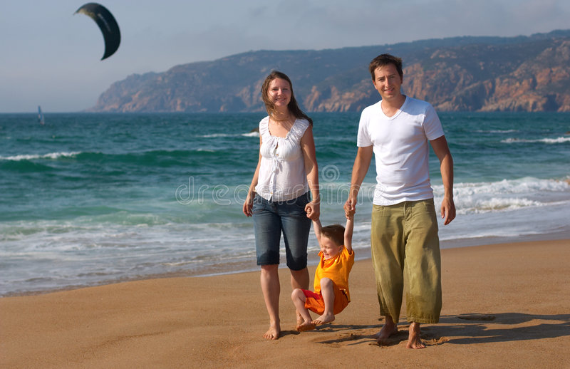 Family fun at the beach stock image