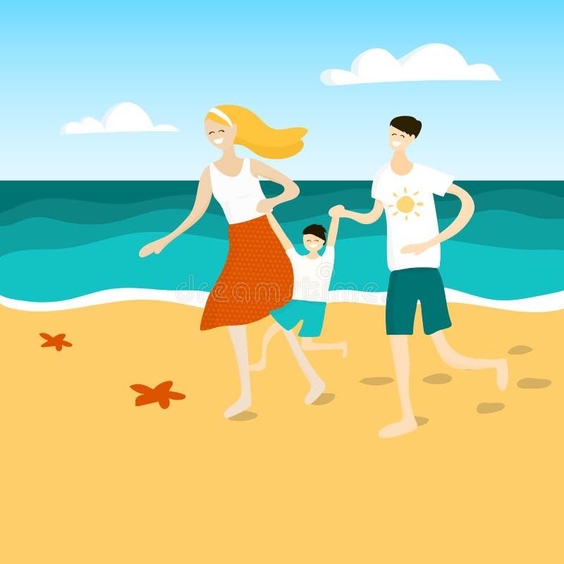 Family fun at the beach. Family having fun at the beach. stock illustration