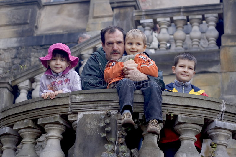 Family Fun At A Castle. Family in castle royalty free stock photo