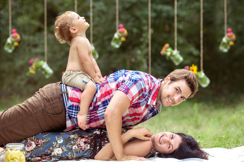 Family fun outside royalty free stock photography