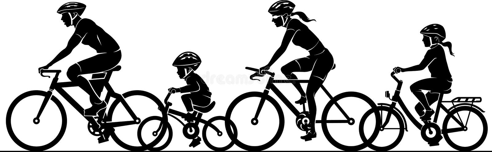 Family Fun Riding Bicycle vector illustration