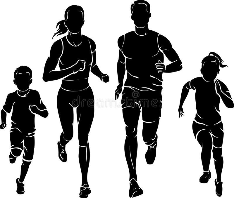 Family Fun Run. Family members silhouette healthy jogging exercise together vector illustration
