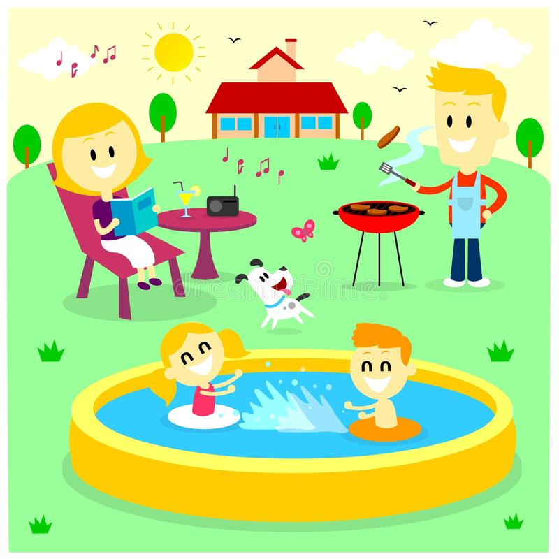 Family Fun Time at The Backyard House. Mom Reading Magazine, Dad Barbecuing while listening to the radio, and Kids Playing in Inflatable Bath Tub, and The Dog vector illustration