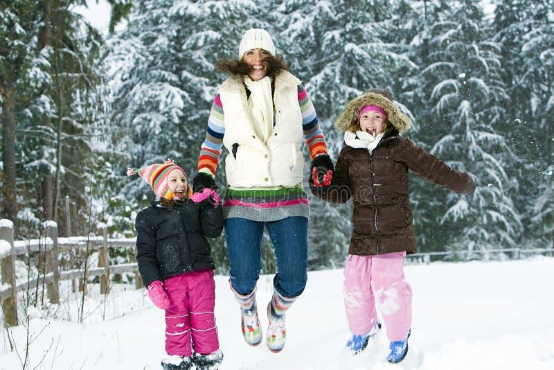 Family Fun in the Winter stock image