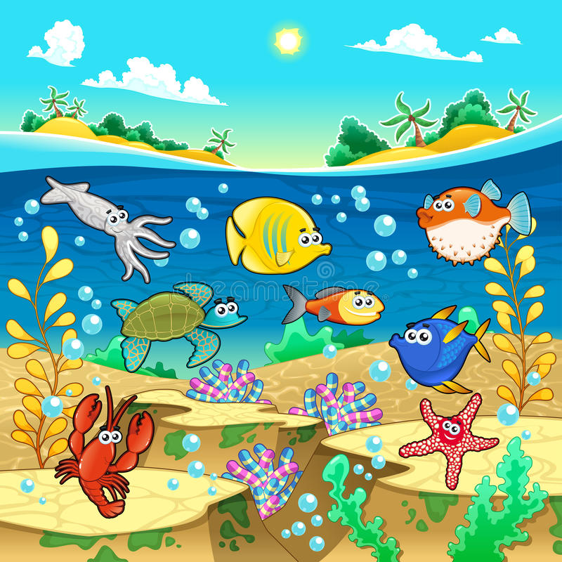 Download Family Of Funny Fish In The Sea. Stock Vector - Image: 31009430