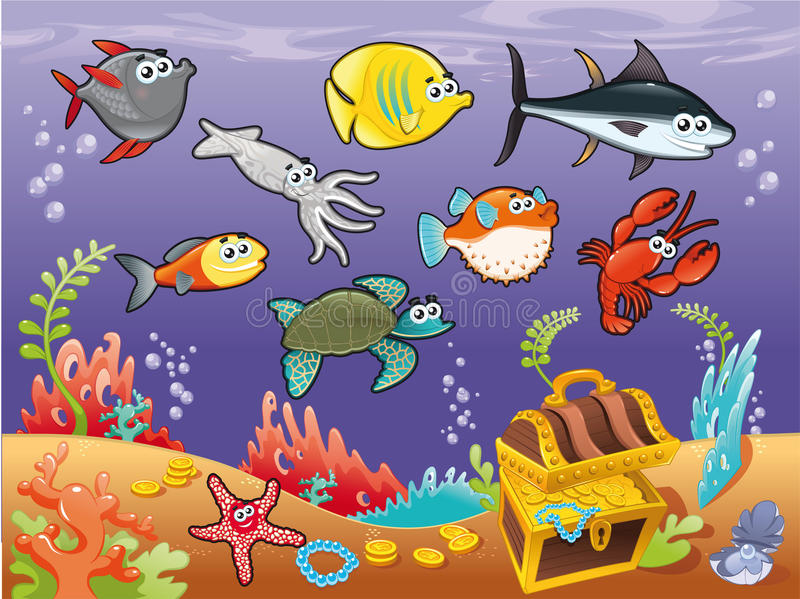 Download Family Of Funny Fish Under The Sea. Royalty Free Stock Photos - Image: 22716468