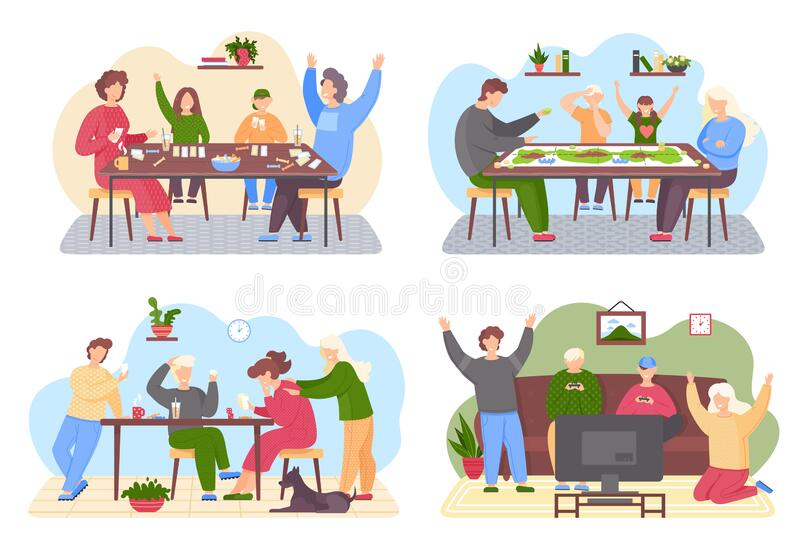 Illustration Stickman Family Playing Board Game Stock Vector (Royalty Free)  1360933688
