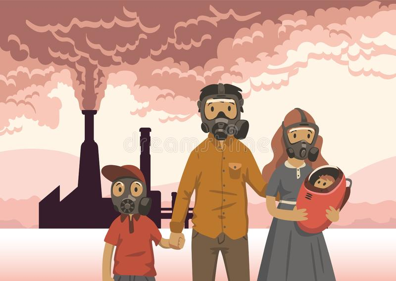 Family in gas masks on smoking inustrial chimney background. Environmental problems, air pollution. Flat vector vector illustration