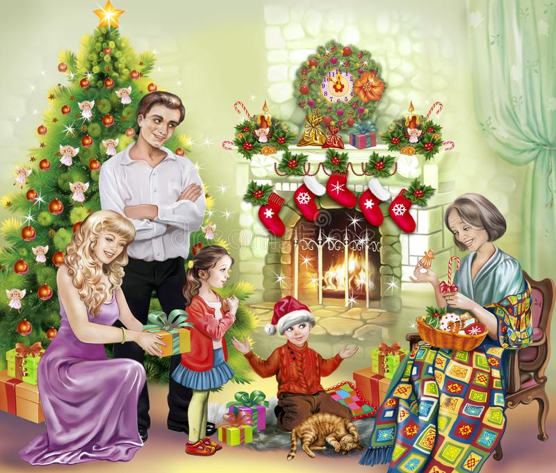 The family gathered at the fireplace with presents for Christmas royalty free illustration