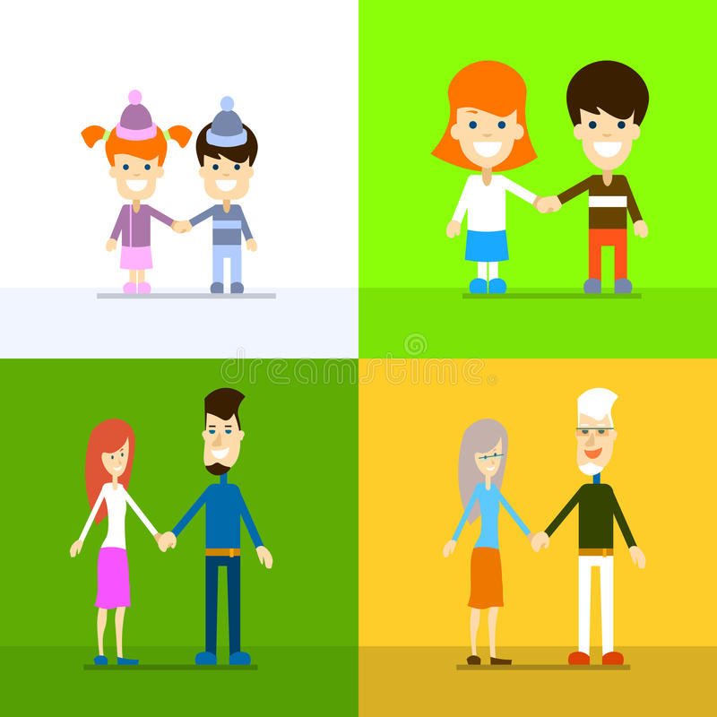 Family Generation Set People Couple Hold Hands Age Concept Collection. Vector Illustration stock illustration