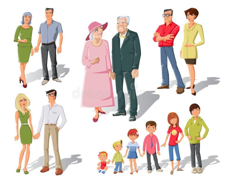 Family Generations Cartoon Set vector illustration