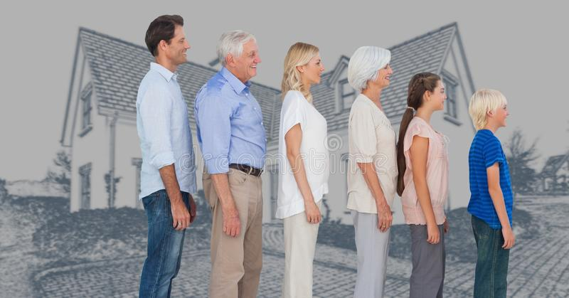Family generations descending in height in front of house drawing sketch stock photo
