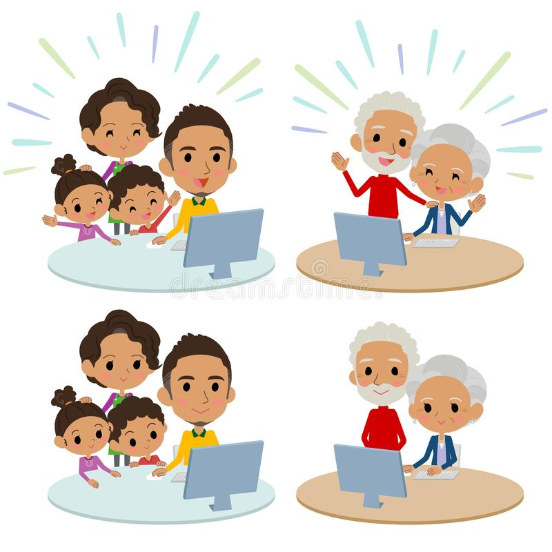Family 3 generations internet communication black_Remote stock illustration