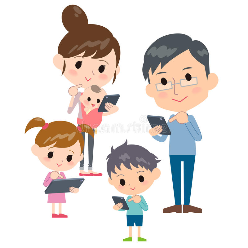 Family 2 generations internet communication smartphone tablet ga. Ther royalty free illustration