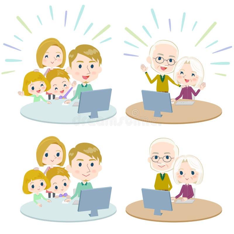 Family 3 generations internet communication White_Remote vector illustration