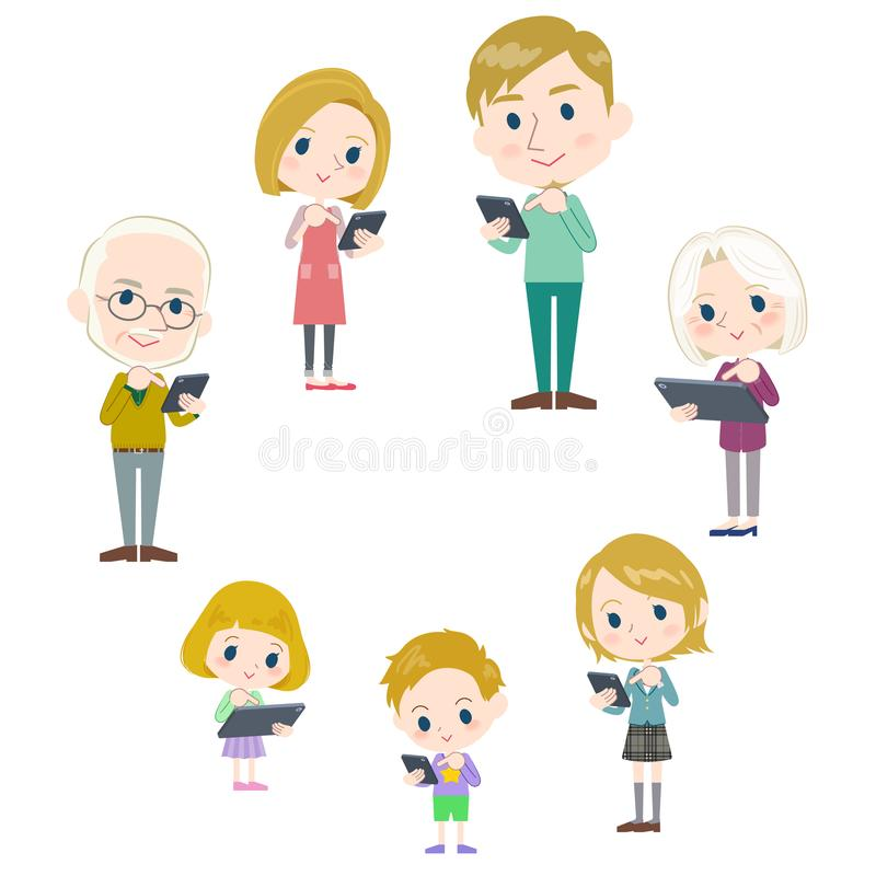 Family 3 generations internet communication White_smartphone tab. Let round vector illustration