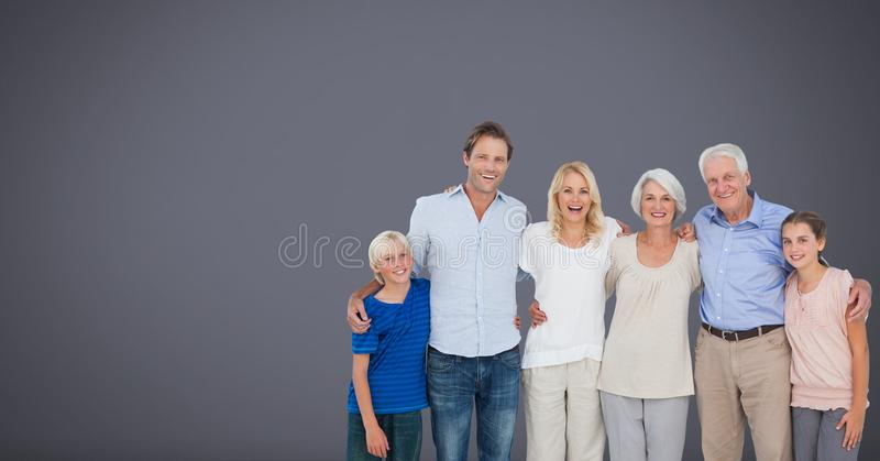 Family generations together with grey background stock images