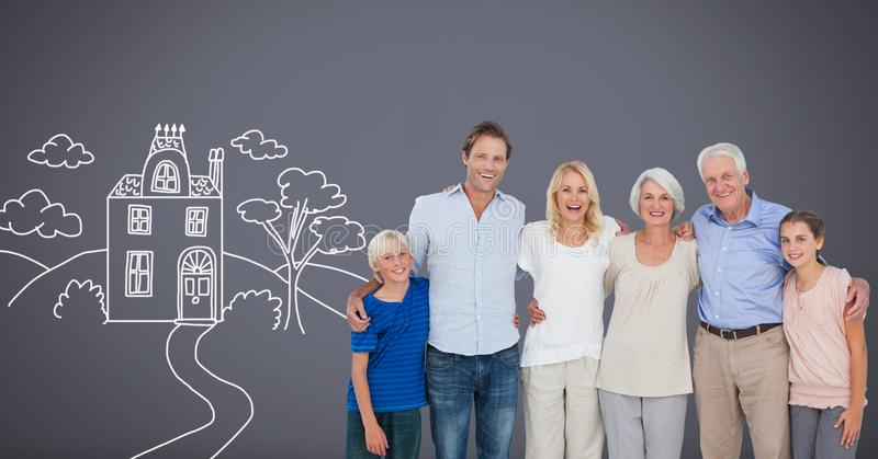 Family generations together with home drawing stock illustration