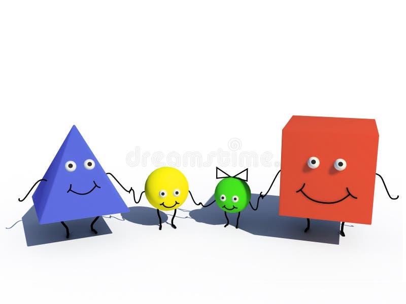 Family of geometric figures stock illustration