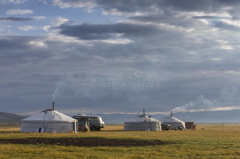 Family ger in a landscape of norther Mongolia royalty free stock image