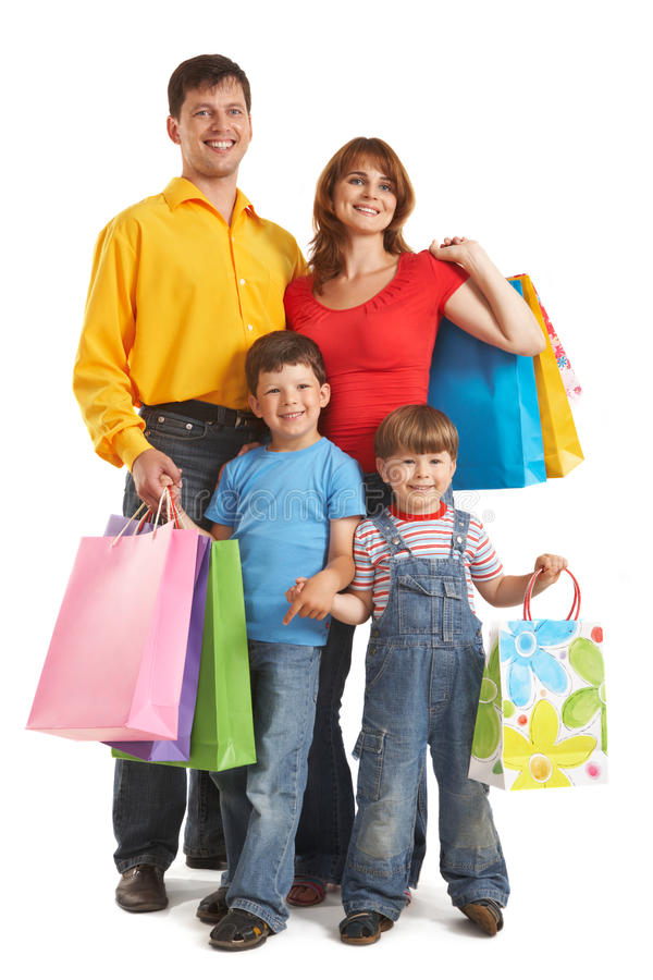 Download Family with gifts stock photo. Image of happiness, buyer - 13445484
