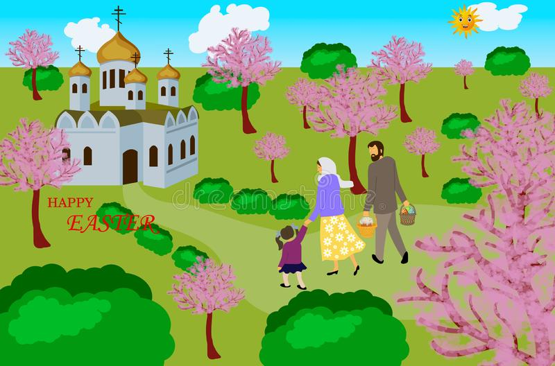 Family  go to church with Easter eggs and Easter baking. vector illustration