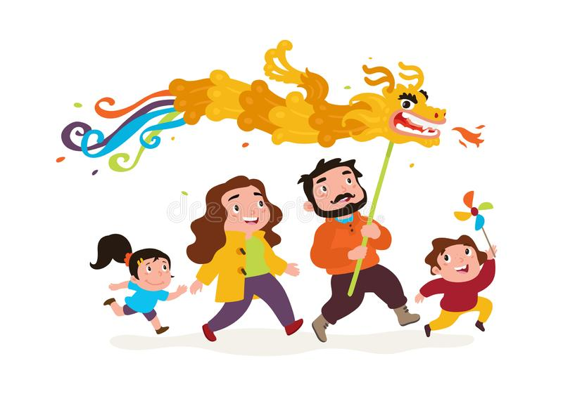 The family goes with the dragon. Vector. Funny characters Dad, Mom and kids go to celebrate Chinese New Year. vector illustration