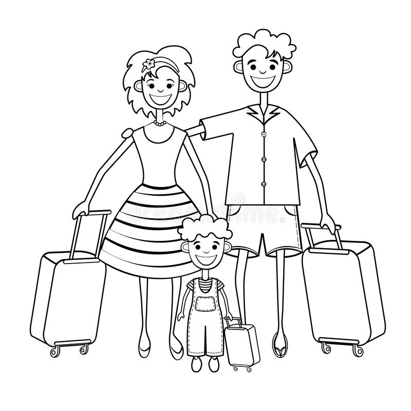 Family goes on vacation, coloring, silhouette, black and white linear drawing. Outline father, mother and child with suitcase trip. Travel holiday, isolated on vector illustration