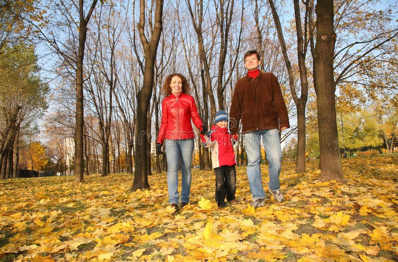 Family goes for a walk in the park. In autumn stock photos