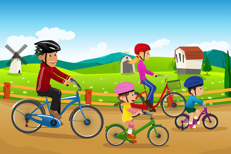 Family going biking together stock illustration
