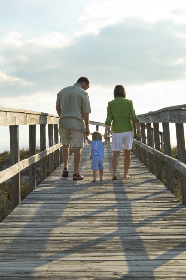Family going to beach. A back view of a young happy family walking on the boardwalk to the beach