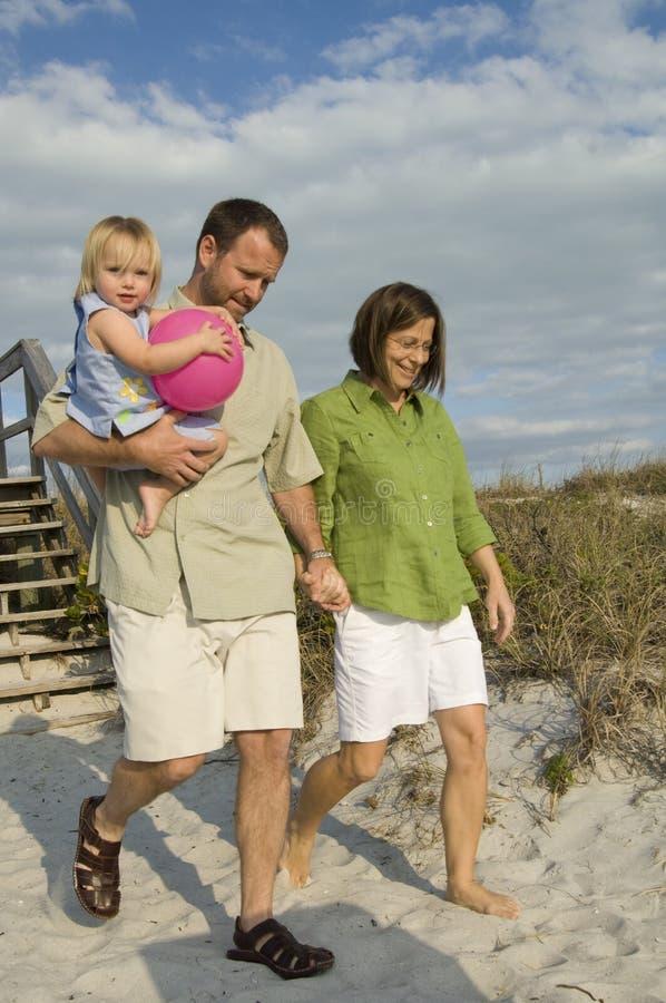 Free Family Going To Beach Stock Image - 8113261