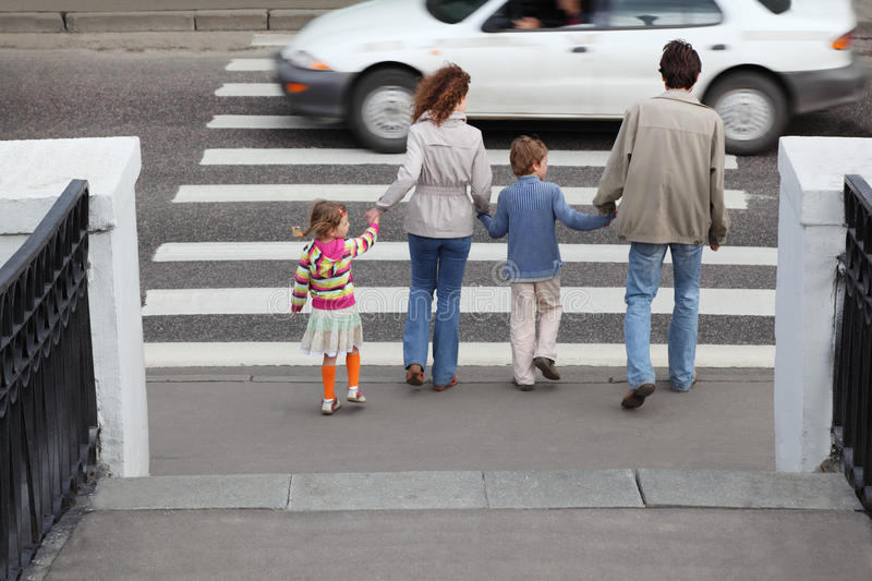 Download Family Is Going To Cross Road, White Car Stock Image - Image: 20570673