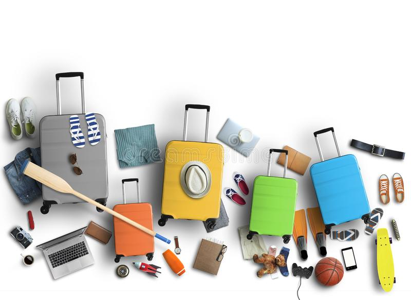 Family is going on a trip, five colored suitcases with clothes stock image